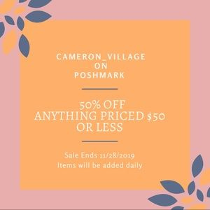 50% Off ANYTHING PRICED OVER $50 END 11/28/2019